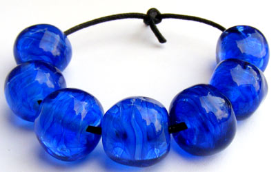 Blue nugget glass lampwork beads