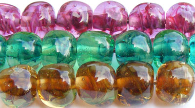 Handmade lampwork glass nugget shaped beads