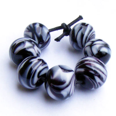 Lampwork zebra stripe glass beads