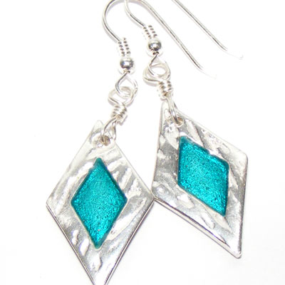 Fine silver diamond shaped enamelled earrings