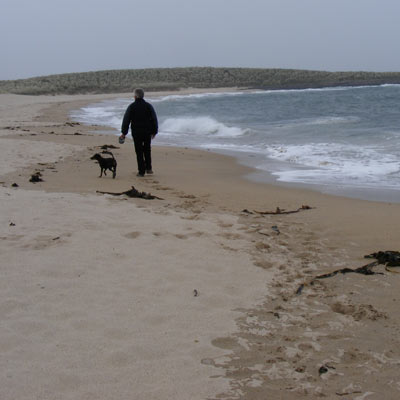 Geoff and Missy in Football Hole close to Craster