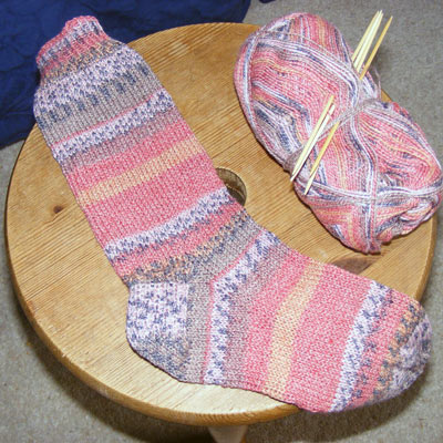 Newest pair of socks knitted on holiday
