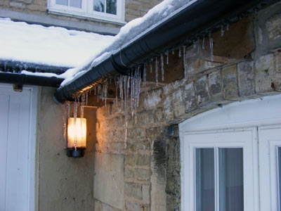 Icicles along the guttering