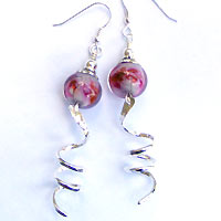 Hand made lampwork bead earrings