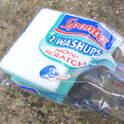 Sponge wash up in packaging