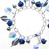 Bracelet made with handmade lampwork beads, swarovski crystal and sterling silver beads