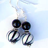 Black and white stripes double earrings