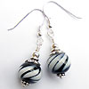 Black and white striped lampwork bead earrings