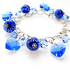 Blue handmade lampwork stripey bead bracelet with swarovski hearts and bicones