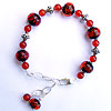 Handmade lampwork glass bubble beads in sterling silver bracelet