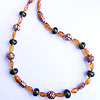Copper and recycled glass handmade lampwork beads teamed with genuine baltic amber necklace