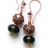 Stering silver earrings made with hand made recycled glass lampwork beads and copper beads