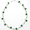 Hand made lampwork beads peridot and swarovski crystal necklace