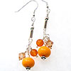Hand made lampwork orange bead on a sterling silver chain with baltic amber and swarovski bicones