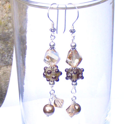 Hand made lampwork bead earrings with swarovski crystal golden shadow faceted helix beads