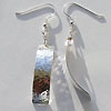 Sterling silver hammer finish rectangular earrings