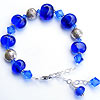 Hand made bracelet with handmade lampwork beads and fair trade hill tribe silver beads