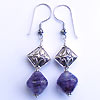 Earrings made with handmade lampwork beads and bali sterling silver beads