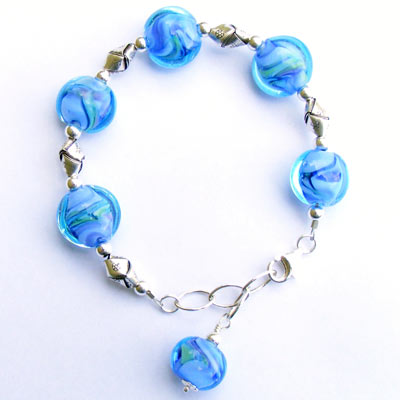 Mermaid bracelet made with handmade lampwork beads