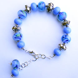 Mermaid bracelet made with handmade lampwork beads and sterling silver