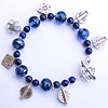 Hand made lampwork bead with lapis lazuli and sterling silver charm dangles bracelet