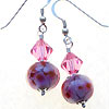Hand made lampwork pink bead with swarovski crystal bicone earrings