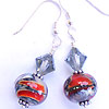 Red Mist lampwork handmade crystal earrings