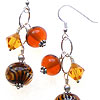 Hand made lampwork beads and swarovski crystal earrings